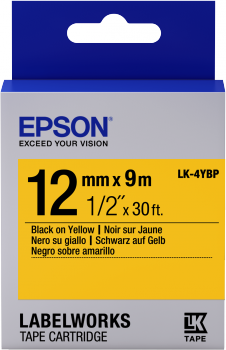Epson Label Cartridge Pastel LK-4YBP Black/Yellow 12mm (9m)-0