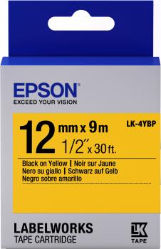 Epson Label Cartridge Pastel LK-4YBP Black/Yellow 12mm (9m)-0