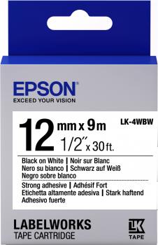 Epson Label Cartridge Strong Adhesive LK-4WBW Black/White 12mm (9m)-0