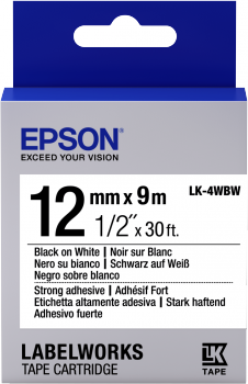 Epson Label Cartridge Strong Adhesive LK-4WBW Black/White 12mm (9m)-0